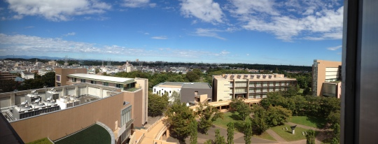 The view from the 8th floor of the Research and Lecture building, where I'll be studying in my breaks from now on I think!