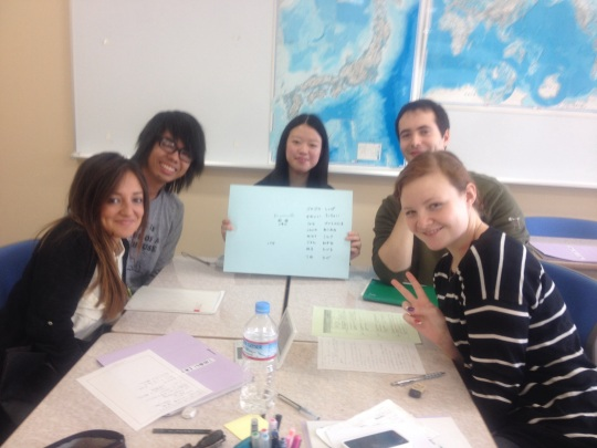 In class we interviewed a Japanese student about her future and the teacher took this! I think it's a great memory, thanks sensei!