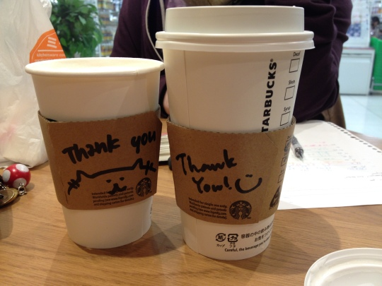 They drew on the cups :)