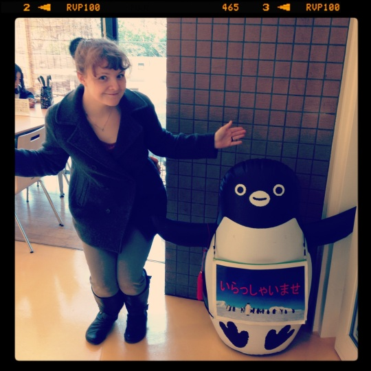 My friend the Suica penguin and I - he just chills in the cafeteria