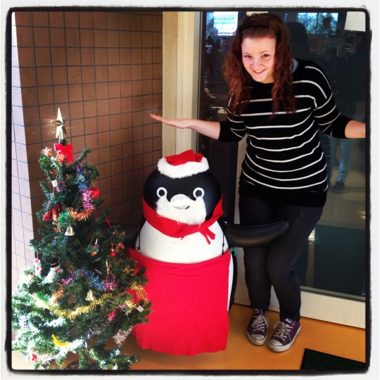 The cafeteria penguin got his Christmas on!