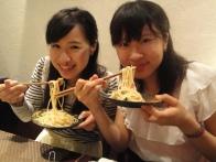 Eating Italian with chopsticks!