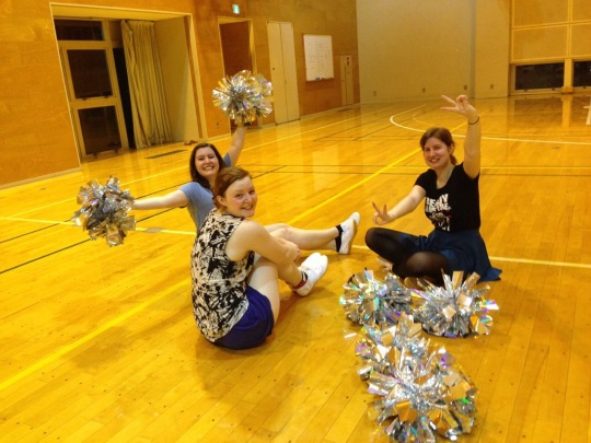 Us and our finished pom poms!!!!