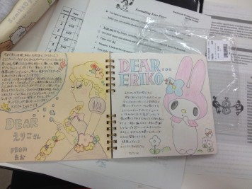 We all wrote in a book to Eriko, and the Japanese girls are all artists!! The messages were beautiful :)