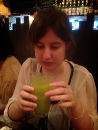No one was sure about this one; green tea and orange juice!