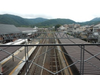 The station at which we arrived; check out those mountains!