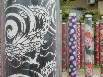 When you come out of the station, there's all these poles with kimono patterns in them. I took the dragon pictures for my mum mostly; what a sop :) Also I think this is where Mark and Rob got off when they went to Kyoto for a few hours, but didn't get very far!